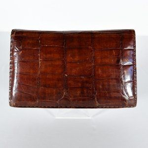 Vintage Leather Croc Print Card Wallet Case